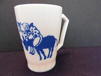Hazel Atlas Clown Milk Glass Children's Mug Cup w/ Handle Blue White