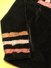 Yak Magik Black Velvet Jean Jacket Coat Distressed Silk Ribbon Trim Med/ Large