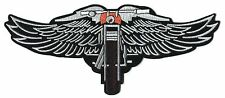 """MOTORCYCLE with wings LARGE 9.5"""" IRON-ON PATCH Free Shipping chopper biker back"""