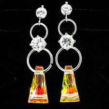 AB Color Party 18k W GP Dangle Earrings Circle Costume Jewelry CZ Clear New 350
