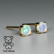 Tiny Round Natural Australian Solid White Opal Stud Earrings 14K Yellow Gold