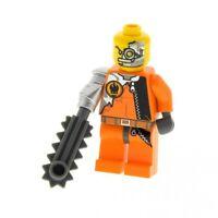 1x Lego Figur Mann Saw Fist orange Logo mechanischer Arm Auge Säge 8631 agt005