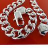 Mens Silver Bracelet Bangle Real 925 Sterling S/F Solid Heavy Curb Link Design