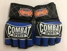 Combat Sports MMA Fight Sparring Training Gloves Open Thumb - Regular - Blue