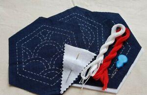 Sashiko Coaster Kit Japanese embroidery Ai-zome 3 pcs Easy follow Hand-made Kit