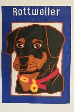 Rottweiler Dog Breed, on Blue stitched decorative Applique Garden Flag 2-sided