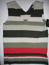 Josephine Chaus Womens On Safari Silk Stretch Sleeveless Striped Shirt New Small
