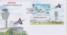 Unaddressed Jersey Cover FDC 2012 Aviation History XI Jersey Airport Sheet