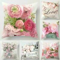 Sofa Waist Cushion Cover Bed Decor Peony Flower Throw Case Pink Pillow I4P9