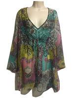 RHONA SUTTON Bohemian Kaftan Tunic Dress Beaded Paisley Chiffon Holiday UK 12 M
