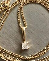 9ct Yellow Gold Solitaire Diamond Necklace 0.35ct Princess Cut 20' Chain VSI