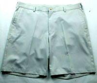 Peter Millar Mens Crown Sport Golf Shorts Size 36 Light Gray Flat Front Pockets