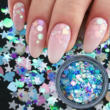 Colorful Round Star Nail Art Glitter Sequins Sparkling Flakes Nail Decorations