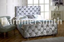 Diamond Crushed Velvet Fabric Upholstered Bed Frame, 4'6ft Double