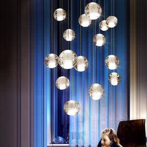 Nordic Style LED Crystal Glass Bubble Globes Ceiling Pendant Lights Fixtures Art