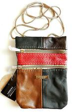 Patch Leather neck pouch wallet purse travel documents passports Medium size