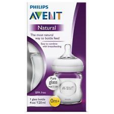 PHILIPS AVENT NATURAL FEEDING GLASS BOTTLE 120ML 4 OZ CLEAR BABY BREASTFEEDING