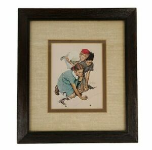 Vintage Norman Rockwell Print Knuckles Down Marbles Boys Girl Matted Framed 8x9