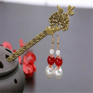 Natural Red agate white Shell pearl Earrings Dangle 18KGP Thanksgiving Party