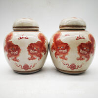 China Ceramics Porcelain Red Lovable Guardion Lion Tea Canister Storage Pot Pair