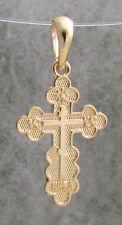 Orthodox Cross Pendant, 14K Yellow Gold Cross, 3 bar, IS XS, Spasu u Soxranu #7a