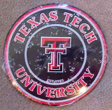 """New University Texas Tech Red Raiders Licensed College Metal Round Sign 12"""" Dorm"""