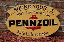 "OLD STYLE PENNZOIL ""SOUND YOUR Z"" MOTOR OIL TWO-SIDED SWINGER SIGN MADE IN USA!"