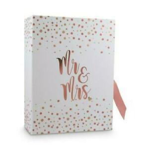 MR & MRS WEDDING PLANNER KEEPSAKE DRAWERS ROSE GOLD WISHES MEMORY BOX CARDS