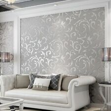 3D Victorian Damask Embossed Wallpaper Home Wall Paper Sticker Decor Silver Gold