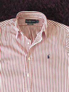 Super Cool 100% Genuine Mens Ralph Lauren Custom Fit Stripe Shirt In Large
