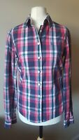 Jack Wills Ladies Blouse Shirt Size 8 Pink Blue Green Check Long Sleeve