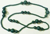 collier bijou rétro année 70 perles verte grosseur différentes belle effet * C5