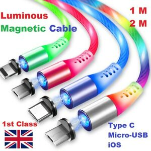 🇬🇧MAGNETIC LED Flowing Light up fast Charge USB Cable iPhone/Android/Type C
