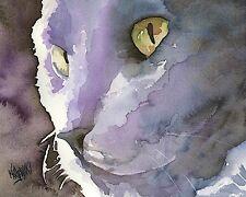 Russian Blue Cat 8x10 signed art PRINT painting RJK