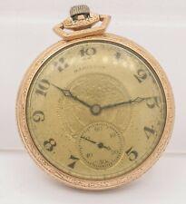 1923- Hamilton Watch Co. 12s 912 17j Open Face 10k GF Pocket Watch Parts/Repair