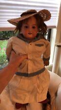 "Antique Armand Marseille Bisque Head 22"" Doll Cloth Body 370 AMG DEP Germany"