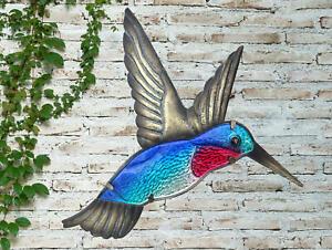 Creekwood Vibrant Blue Hummingbird Metal Glass Garden Wall Art