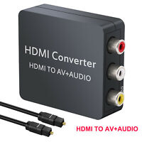 HDMI to AV 3RCA CVBS Composite Video Converter/Adapter PAL/NTSC+Optical Cable US