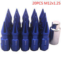 20pcs Aluminum Lock Lug Nuts With Spikes M12x1.25 For Nissan Subaru Suzuki & Key