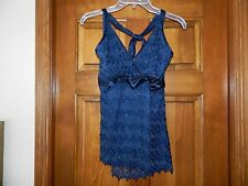 NWT Fashion Bug Halter Top Navy Blue with Silver threading L Large