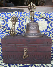 Antique Master Quality long Vibrating Sound Tibetan Bell and Dorji in Wooden Box