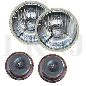 """LAND ROVER DEFENDER & RR CLASSIC 7"""" SEALED BEAM TO HALOGEN CONVERSION LAMPS PAIR"""
