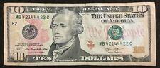 $10 Dollars Bill Series 2013 (New York) Short Ladder, Fancy Serial # 421 44 422