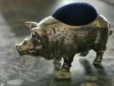 More details for vintage sterling silver pig pin cushion