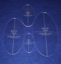 "Oval Quilt Templates 4 Piece Set. 4"", 6"", 8"",10"" - Clear 1/4"" Thick w/ Guideline"