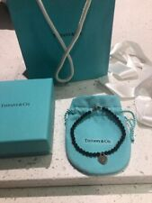 Authentic Genuine Tiffany & Co Mini Black Onyx RTT Heart Tag Bracelet 18cm
