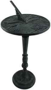 Iron Dragonfly Sundial on Pedestal w/ Bird Gnomon Sundials Lawn Garden Sun Dials