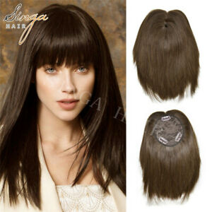 100% Natural Remy Human Hair Fringe Bangs Extensions Top Piece Clip In Bangs US