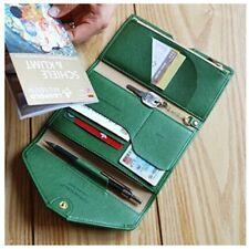 Women Leather ID Dollar Badge Passport Wallet Trifold Snap Envelope Pen Holder