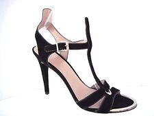 STUART WEITZMAN Black Suede Strappy Heeled Sandals Size 10 M Spain